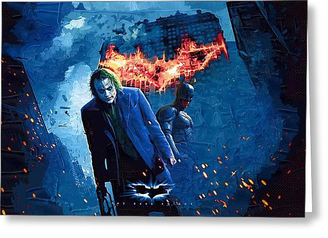 Gotham City Paintings Greeting Cards - Batman and Joker Greeting Card by Victor Gladkiy