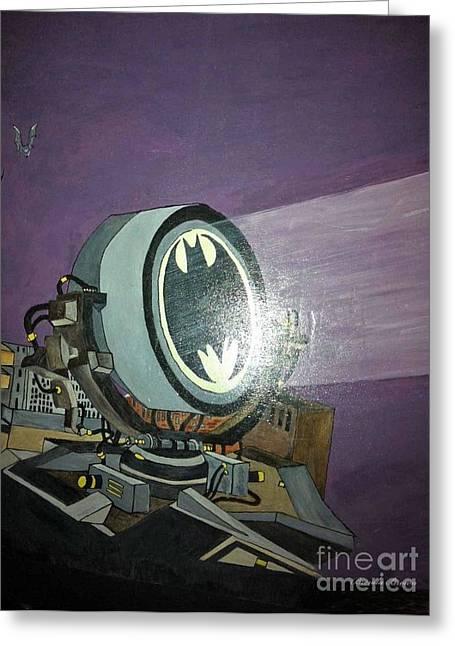 Gotham City Greeting Cards - Batman Beam Greeting Card by Brenda Brown
