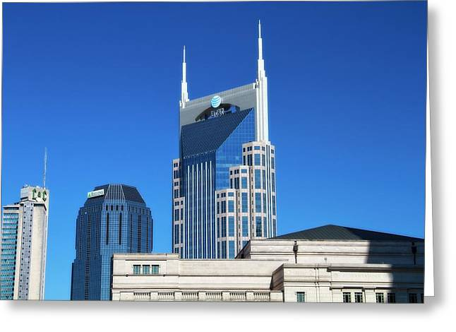 Batman Greeting Cards - Batman Building And Nashville Skyline Greeting Card by Dan Sproul