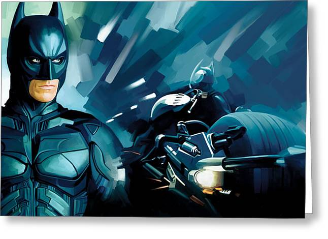 Movie Art Mixed Media Greeting Cards - Batman - Dark Knight Artwork Greeting Card by Sheraz A