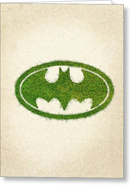 Wasted Greeting Cards - Batman Grass Logo Greeting Card by Aged Pixel