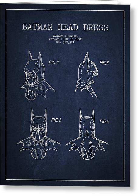 Exclusive Greeting Cards - Batman Head Dress Patent Drawing Greeting Card by Aged Pixel