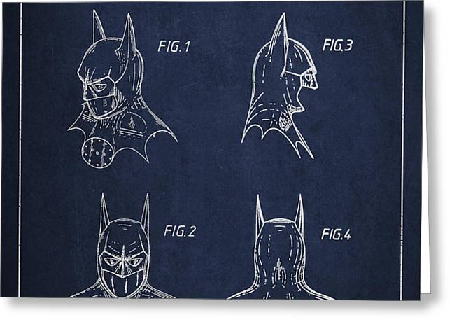 Batman Head Dress Patent Drawing Greeting Card by Aged Pixel