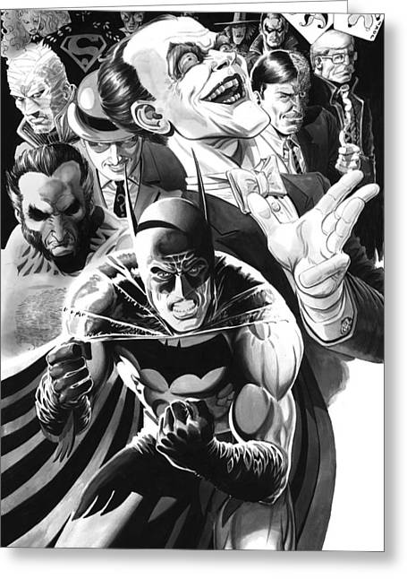 Two Faces Greeting Cards - Batman Hush Theme Greeting Card by Ken Branch