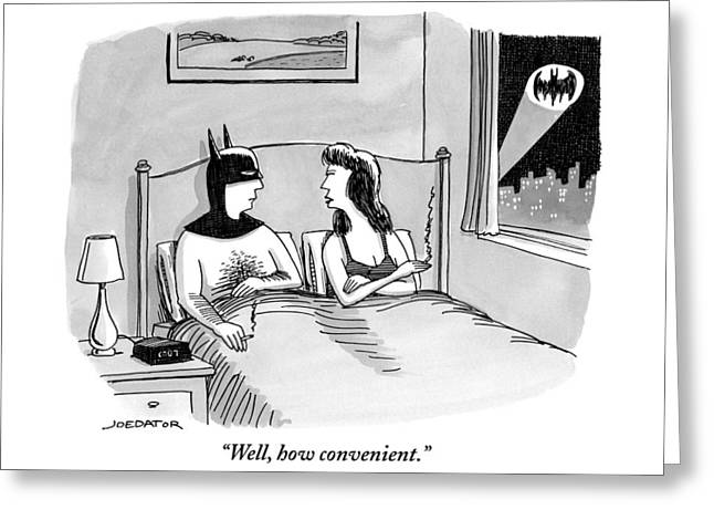 Batman In Bed With Woman After Having Sex Greeting Card by Joe Dator