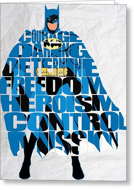 Superhero Greeting Cards - Batman Inspirational Power and Strength Through Words Greeting Card by Marvin Blaine