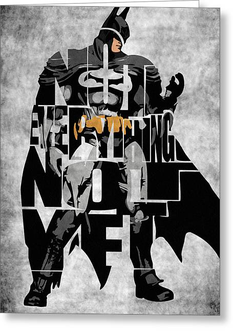 Printed Greeting Cards - Batman Inspired Typography Poster Greeting Card by Ayse Deniz