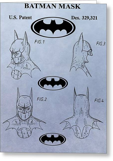 Batman Mask Patent Greeting Card by Dan Sproul