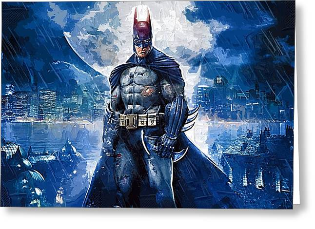 Gotham City Paintings Greeting Cards - Batman Number 9 Greeting Card by Victor Gladkiy