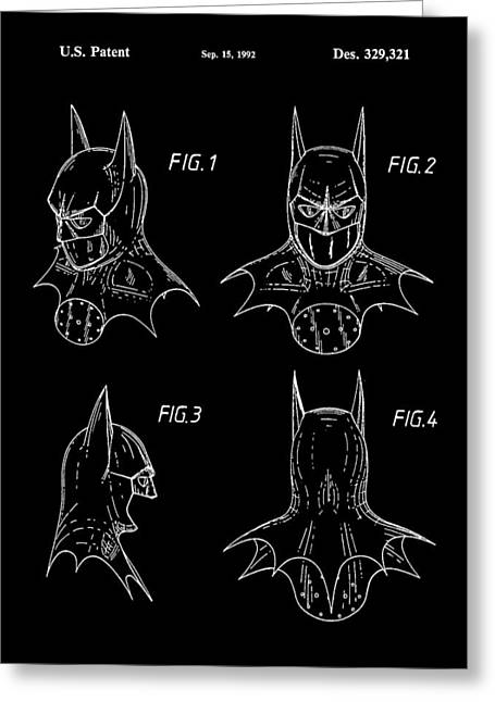 Caped Crusader Greeting Cards - Batman Patent 1992 - Black Greeting Card by Stephen Younts