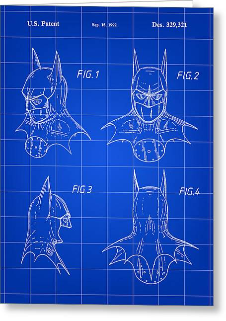 Caped Crusader Greeting Cards - Batman Patent 1992 - Blue Greeting Card by Stephen Younts