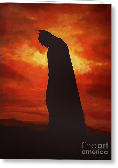 Caped Crusader Greeting Cards - Batman  Greeting Card by Paul  Meijering