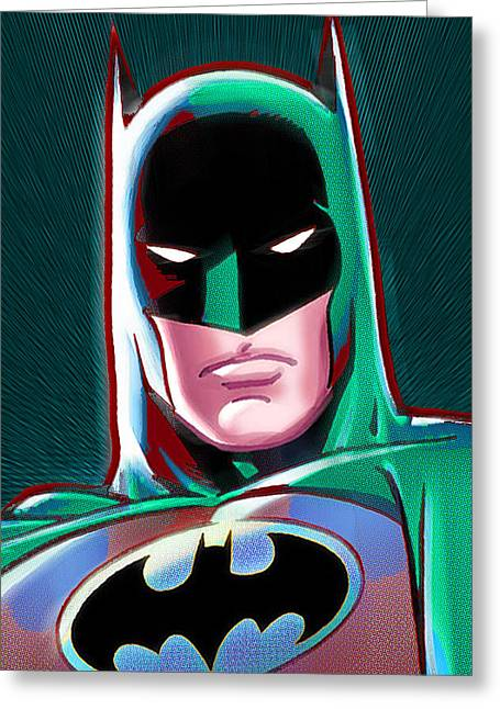 Empower Mixed Media Greeting Cards - Batman Pop Greeting Card by Tony Rubino