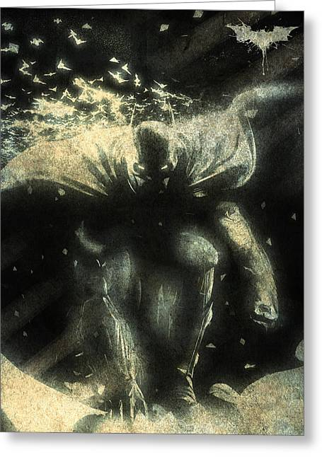 Gotham City Digital Greeting Cards - BatMan Print Greeting Card by Albert Lewis