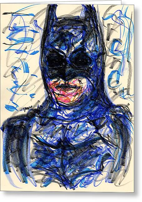 Bale Drawings Greeting Cards - Batman Greeting Card by Rachel Scott