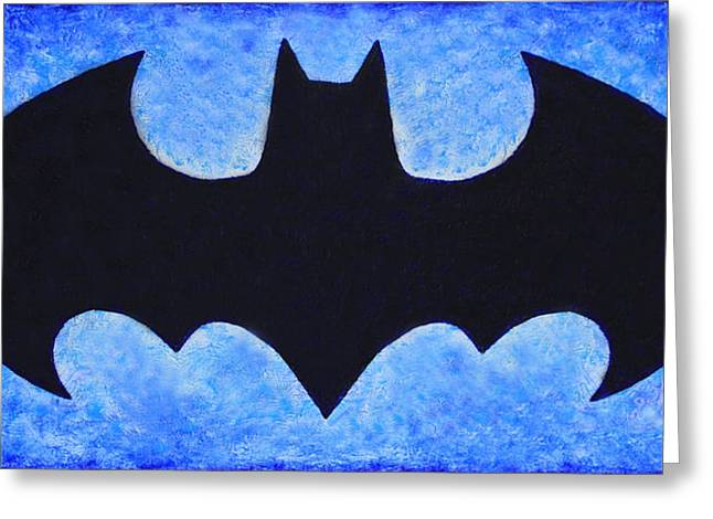 Batman Greeting Cards - Batman Symbol original acrylic palette knife painting Greeting Card by Georgeta Blanaru