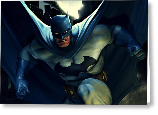 Crime Fighter Greeting Cards - Batman The Caped Crusader Greeting Card by Movie Poster Prints