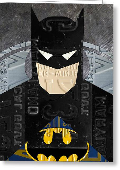 Superheroes Mixed Media Greeting Cards - Batman The Dark Knight Portrait Superhero Recycled License Plate Art Greeting Card by Design Turnpike