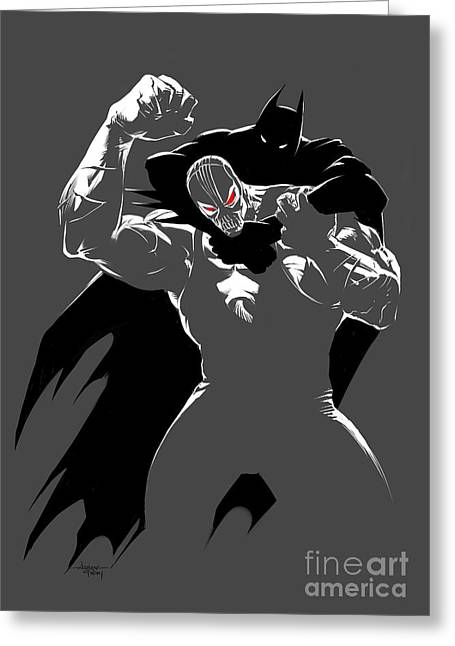 Clenched Fist Greeting Cards - Batman Vs. Bane Greeting Card by Ashraf Ghori