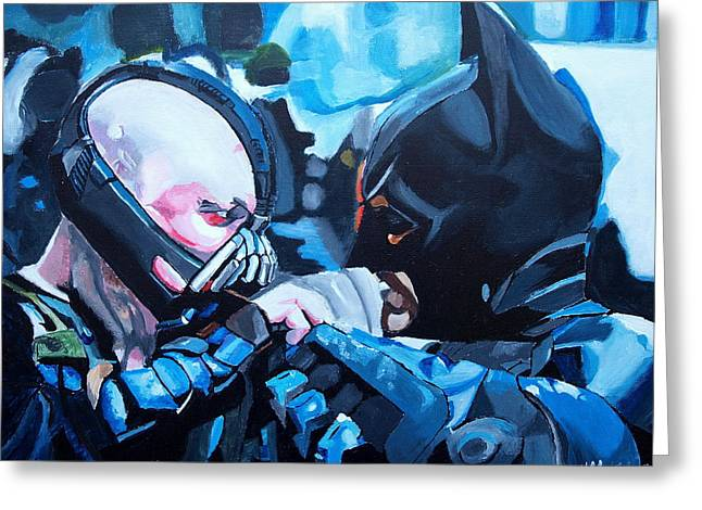 Batman Greeting Cards - Batman vs Bane Greeting Card by Martin Putsey