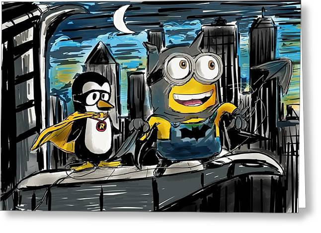 Batman Greeting Cards - BatMinion and Robin the Penguin Wonder Greeting Card by Devin Hermanson
