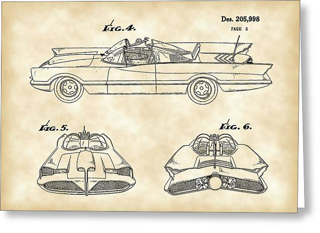 Caped Crusader Greeting Cards - Batmobile Patent 1966 - Vintage Greeting Card by Stephen Younts