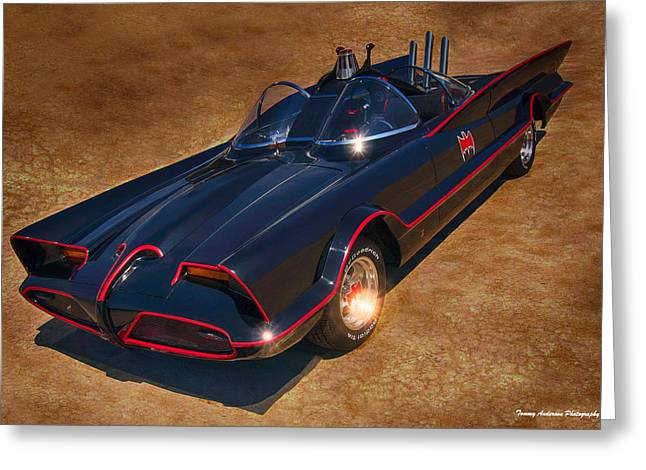 Recently Sold -  - Crime Fighter Greeting Cards - Batmobile Greeting Card by Tommy Anderson