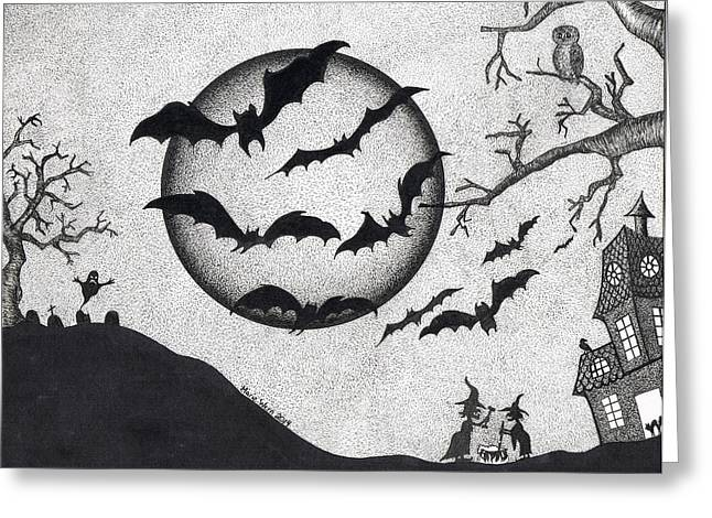 """""""haunted House"""" Drawings Greeting Cards - Bats Greeting Card by Marie Wern"""