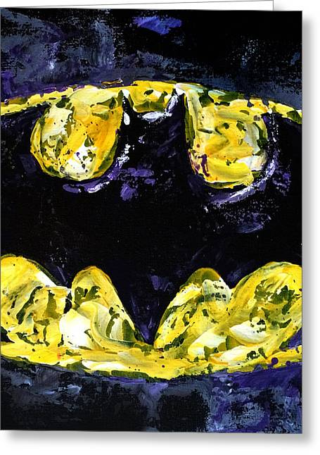Dc Comics Paintings Greeting Cards - Batsignal Greeting Card by Connie Mobley Johns