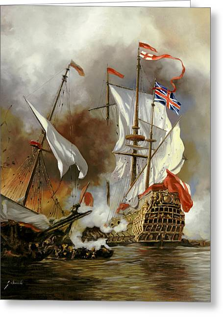 Battle Ship Greeting Cards - Battaglia Sul Mare Greeting Card by Guido Borelli