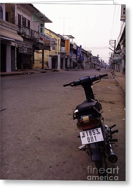 Tonle Greeting Cards - Battambang colonial street Cambodia Greeting Card by Ryan Fox