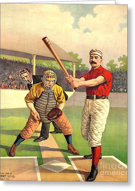 Batter Up 1895 Greeting Card by Padre Art