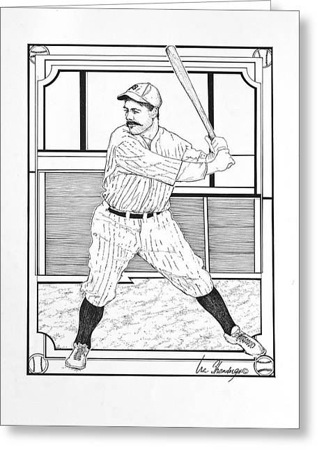 Player Drawings Greeting Cards - Batter Up Greeting Card by Ira Shander
