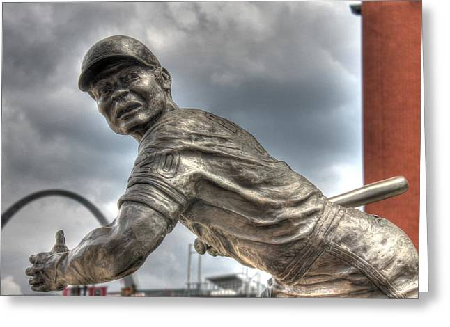 Busch Stadium Greeting Cards - Batter Up Greeting Card by Jane Linders