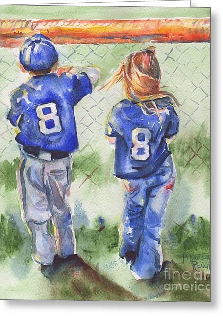 Batter Paintings Greeting Cards - Batter Up Greeting Card by Maria