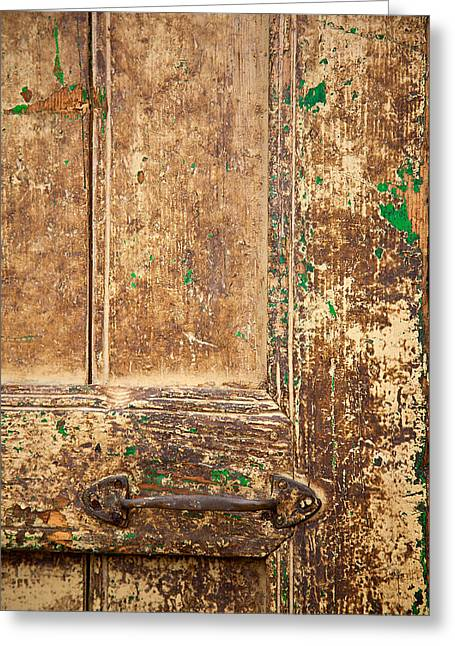 Old Street Greeting Cards - Battered Door Greeting Card by Peter Tellone