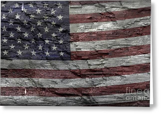 Flag Of Usa Greeting Cards - Battered Old Glory Greeting Card by John Stephens