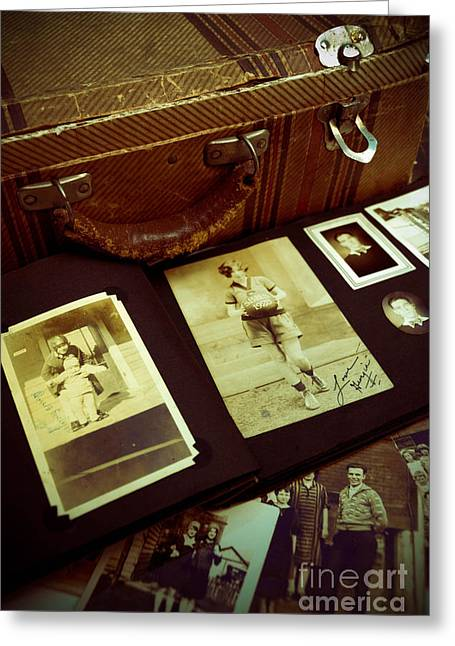 Photos Album Greeting Cards - Battered Suitcase of Antique Photographs Greeting Card by Amy Cicconi