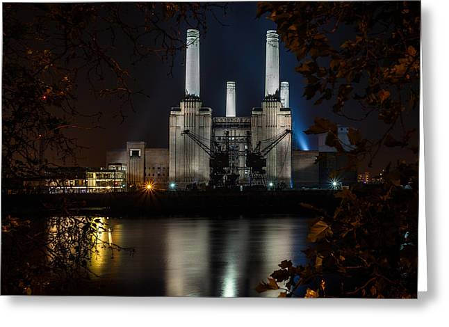 Starburst. Night Prints Greeting Cards - Battersea Power Station Colour Greeting Card by Izzy Standbridge