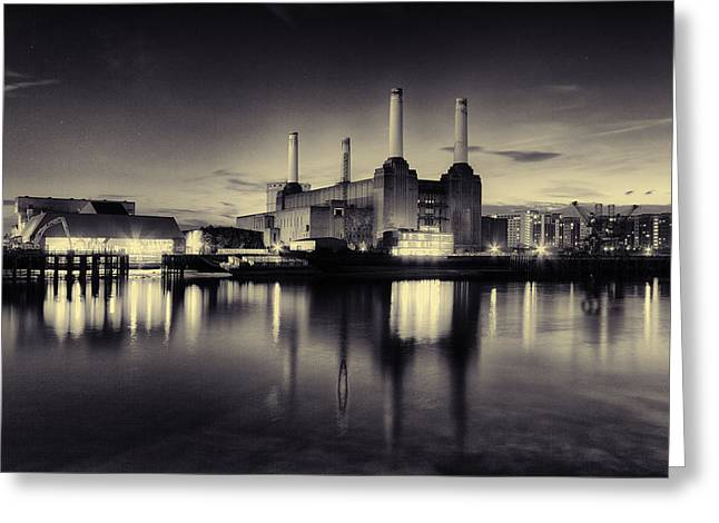 Thames River Greeting Cards - Battersea Power Station Greeting Card by Ian Hufton