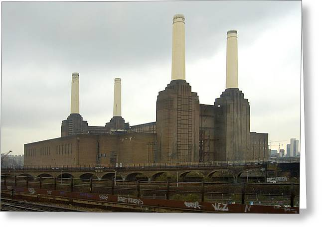 Railroad Tracks Greeting Cards - Battersea Power Station - London Greeting Card by Mike McGlothlen