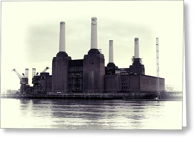 Black Pig Greeting Cards - Battersea Power Station Vintage Greeting Card by Jasna Buncic