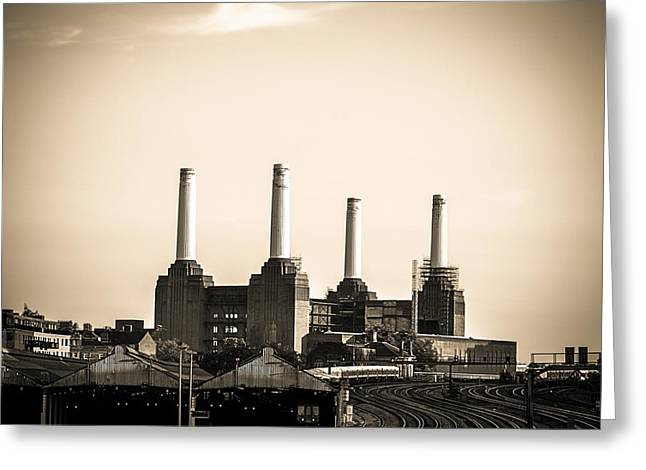 Runnycustard Greeting Cards - Battersea Power Station with train tracks Greeting Card by Lenny Carter