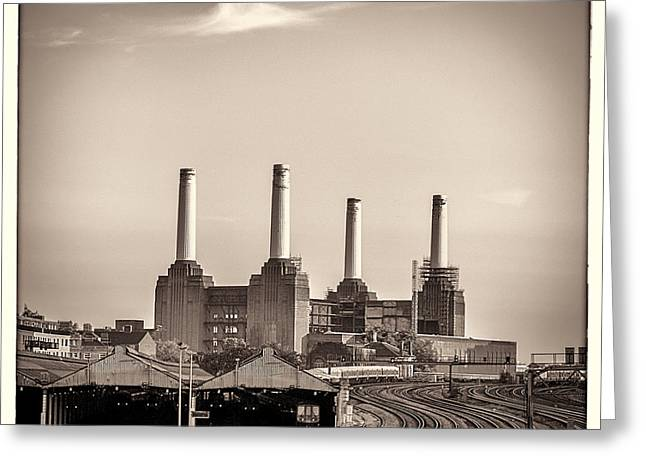 Runnycustard Greeting Cards - Battersea Power Station with train tracks with Border Greeting Card by Lenny Carter