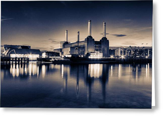 Thames River Greeting Cards - Battersea Toned Greeting Card by Ian Hufton