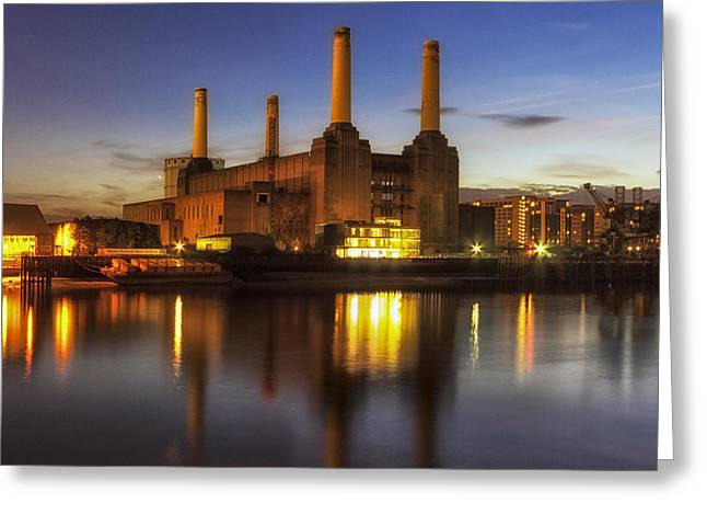 South Bank Greeting Cards - Battersea Twighlight Greeting Card by Ian Hufton