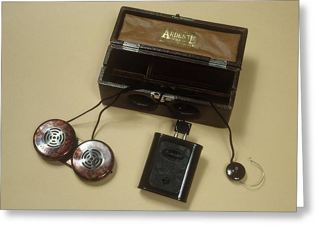 Battery Operated Hearing Aid Greeting Card by Science Photo Library