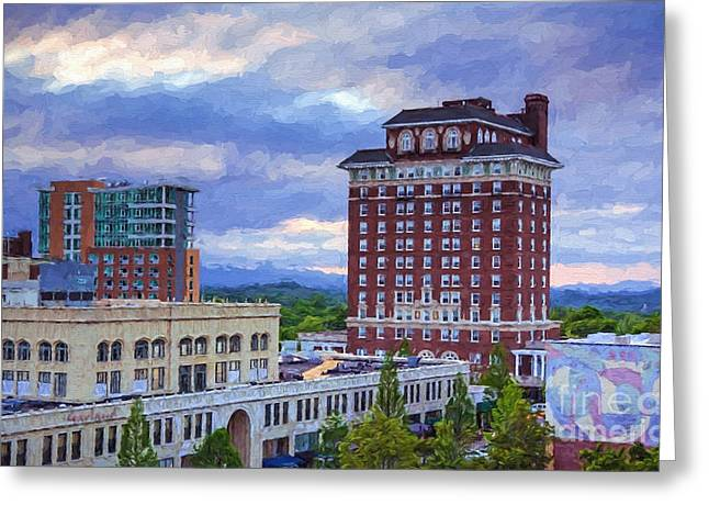 Asheville Mixed Media Greeting Cards - Battery Park Asheville NC Greeting Card by Garland Johnson