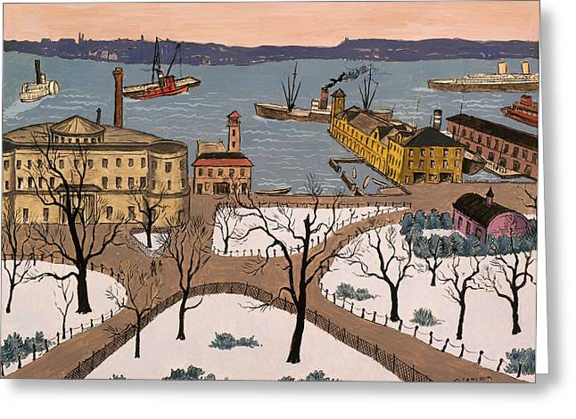 Steamboat Greeting Cards - Battery Park Greeting Card by Glenn Coleman