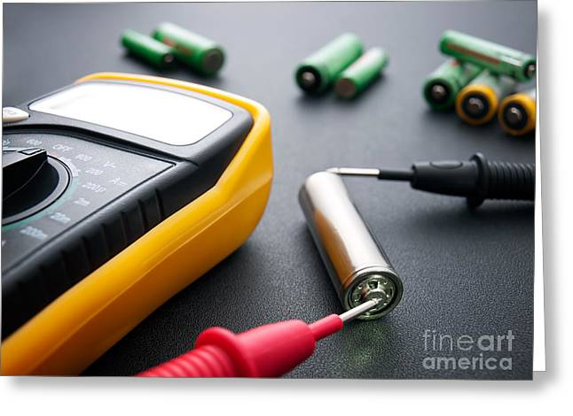 Electrical Resistance Greeting Cards - Battery testing Greeting Card by Sinisa Botas